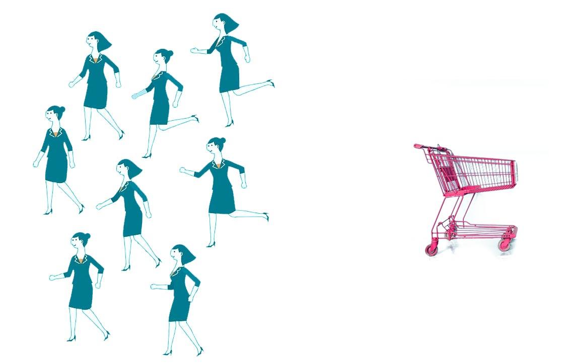 People abandoning shopping cart