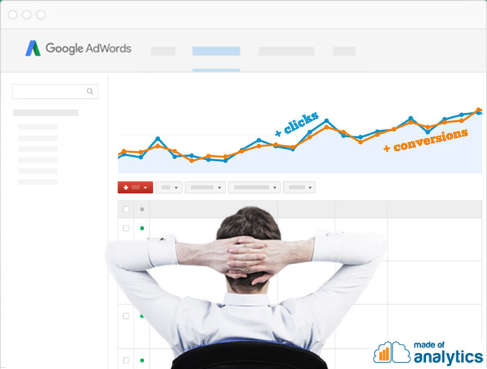 An AdWords consultannt looking at the increase in clicks and conversions