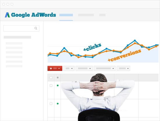 Google AdWords expert looking at the increase on clicks and conversions