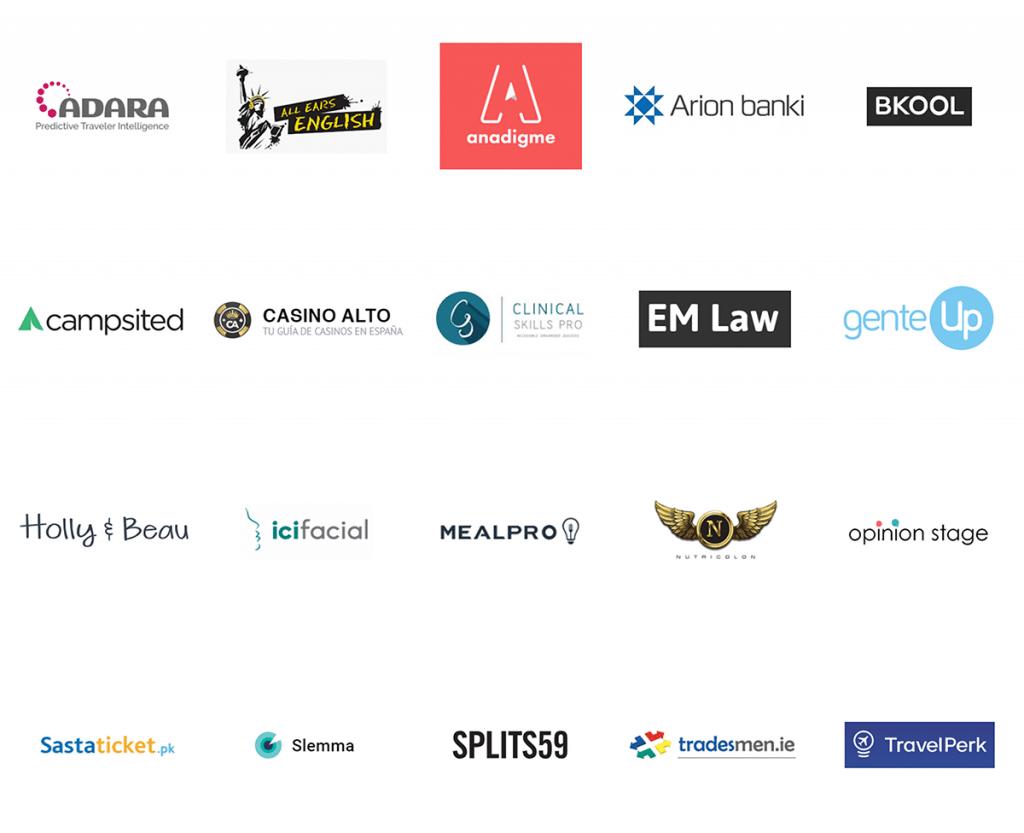 Logos de clientes en casos de éxito